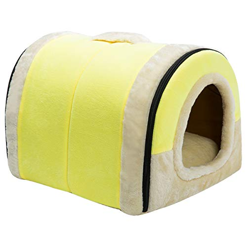 Hollypet Crystal Velvet Self-Warming 2-in-1 Foldable Cave House Shape Nest Pet Sleeping Bed for Cats and Small Dogs, Yellow