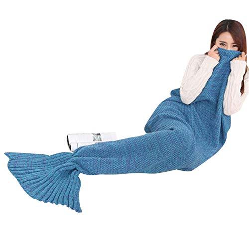 FELICIA SHARKEY Mermaid Tail Blanket Crochet Mermaid Blanket,Soft Four Season Universal Blanket,Beautiful and Warm (Lake Blue, 27.5
