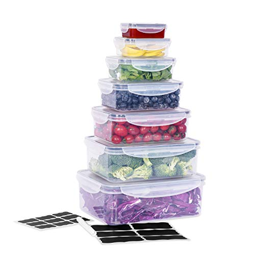 Large Food Storage Containers with Lids Airtight (Set of 7) CASALINGO Plastic Microwave Bento box Outdoor Picnic Food…