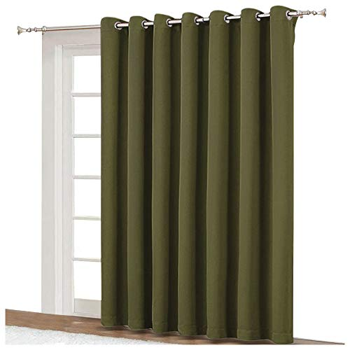 - NICETOWN Window Treatment Sliding Door Curtain - Thermal Insulated Wide Width Solid Blackout Patio Glass Door Drape, Extra Wide Draperies (Olive Green, 100 inches Wide x 84 inches Long)