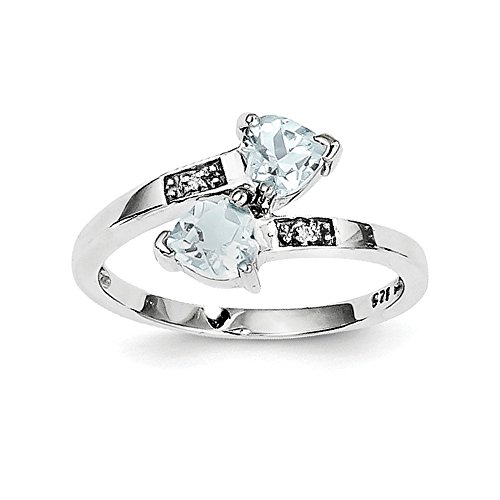 Sterling Silver Polished Open back Rhodium-plated Rhodium Aqua and Diamond Heart Ring - Size 7