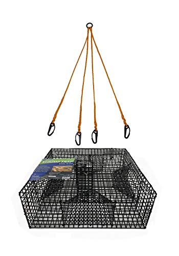 Promar Heavy Duty Shrimp Pot with 1-Inch Mesh and 4 Tunnels, 24x24x9-Inch and 4 Way Harness, - Shrimp Trap
