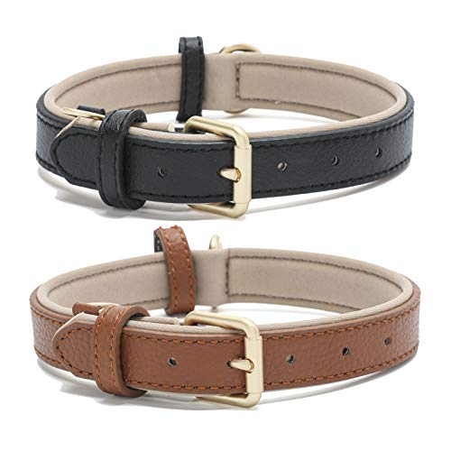 Linkfun 2 Pack Genuine Leather Classic Dog Collar Soft Padded Breathable Waterproof Collars for Small Medium Large Dogs