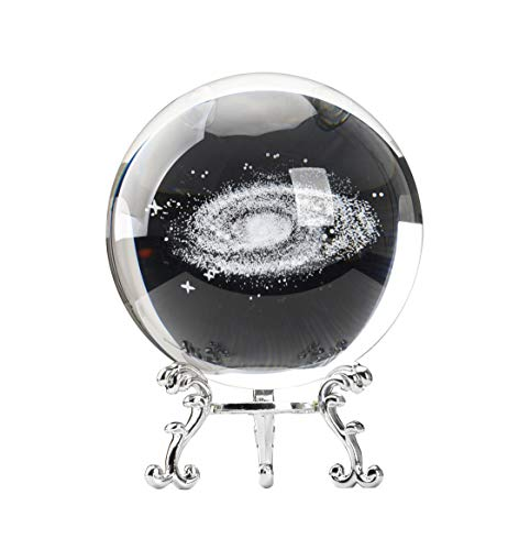 Aircee 3D Galaxy Crystal Ball, Decorative Glass Ball with A Stand, Home Office Decor, 80mm (3.15inch), Great Gifts with Gift Box (Glass Home Decor Balls)