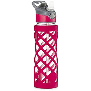 Swig Savvy 25oz Glass Water Bottle - Protective Silicone Sleeve With 3 Interchangeable Leak-proof Caps . Sleek, Durable & Stylish – PBA Free – Break Resistant Borosilicate Glass (Pink,1 Pack)