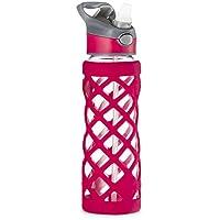 Swig Savvy 25oz Glass Water Bottle - Protective Silicone Sleeve With 3 Interchangeable Leak-proof Caps . Sleek, Durable & Stylish - PBA Free - Break Resistant Borosilicate Glass (Pink,1 Pack)