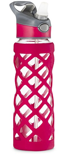 SWIG SAVVY 25oz Glass Water Bottle - Protective Silicone Sleeve With 3 Interchangeable Leak-proof Caps Sleek, Durable & Stylish – PBA Free – Break Resistant Borosilicate Glass (Pink,1 Pack)