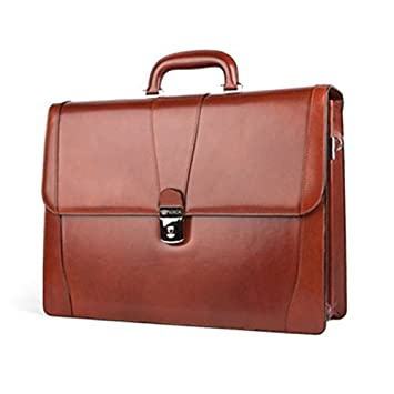 Bosca Old Leather Double Gusset Leather Briefcase - Cognac