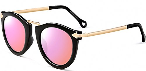 Vintage Style Sunglasses (ATTCL Vintage Fashion Round Arrow Style Wayfarer Polarized Sunglasses for Women 1189-black-Pink)