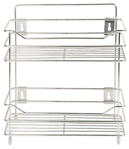 EverEx Stainless Steel Spice 2-Tier Layer Fruits & Vegetable Onion Trolley Container Organizer Organiser/Basket for Home…