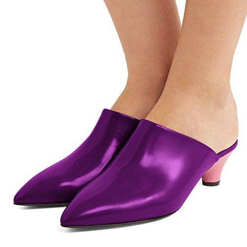FSJ Women Casual Closed Toe Mules Low Heels Sandals Comfortable Walking Pumps Shoes Size 4-15 US Purple