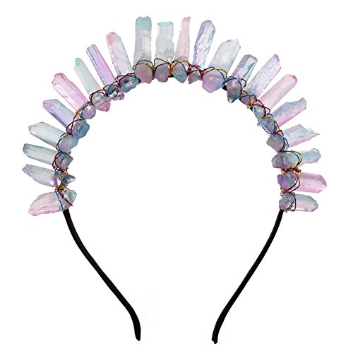 GRACEART Raw Crystal Quartz Tiara Mermaid Crown Headband