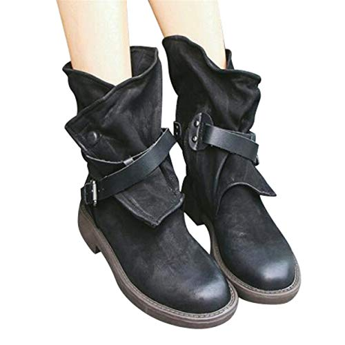 Londony ♪✿ Clearance Sales,Vintage Women's Buckles Riding Boots Artificial Leather Mid Calf Motorcycle Booties (Buckle Coin Belt Cut)