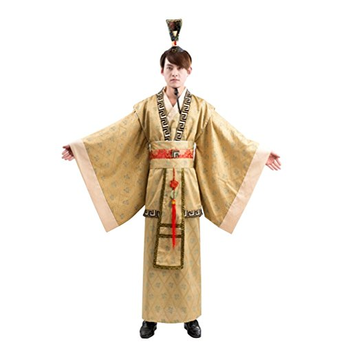 springcos Chinese Costumes Men Fancy Dress Costumes Golden Halloween Cosplay