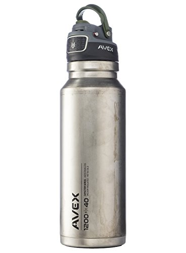 AVEX FreeFlow Autoseal Water Bottle, Unfinished Stainless, 1200ml/40 oz