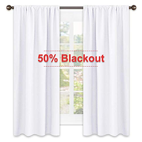 NICETOWN Semi Blackout Bedroom Curtains - Window Treatment Rod Pocket Curtains/Drapes for Bedroom (2 Panels,42 by 63,White)