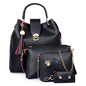 Speed X Fashion Combo Set Pu Leather Shoulder Bags For Women Black Colour Set Of 4 (SRTY000GFR2)