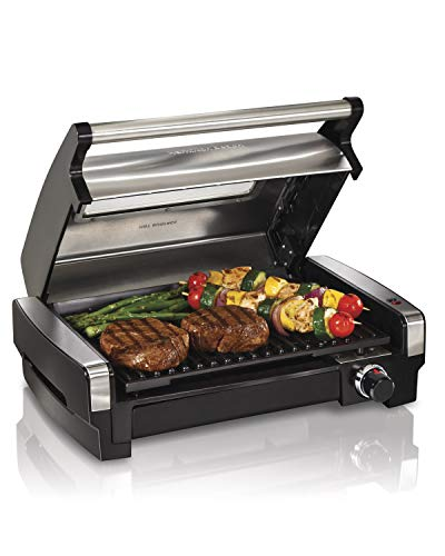 - Hamilton Beach 25361 Electric Indoor Searing Grill with Removable Easy-to-Clean Nonstick Plate, Viewing Window, Stainless Steel