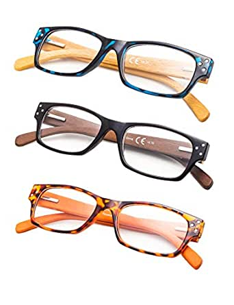 3-Pack Wood Arms Reading Glasses with Spring Hinges - Multicoloured -