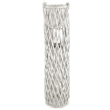 Höhe ca Laterne Rattan mit Glas-Windlicht 50cm weiss