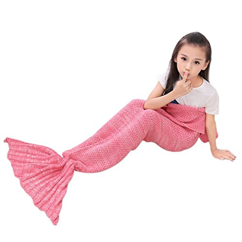 Roluck Mermaid Tail Blanket Handmade Warm Keeper Autumn Winter Blanket for Girls (Pink)