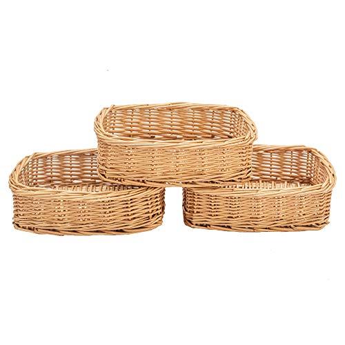 HDKJ Rectangle Small Wicker Baskets for Sundries 3pcs Storage Bins (Natural, 3PCS) (Small Baskets)