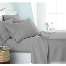 Casa Copenhagen Eternal Collection 500 Thread-Count Egyptian Cotton 4 pieces King Bed Sheet Pillow Case Set, Light Grey