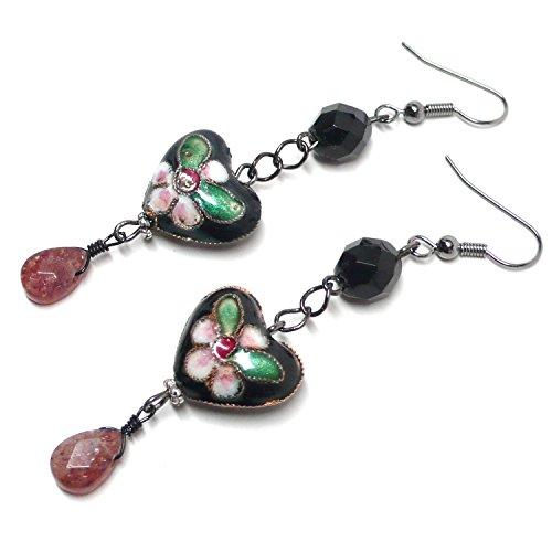 - Chinese Cloisonne Enamel Heart Muscovite Briolette Earrings Custom