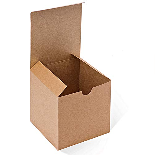 MESHA Kraft Brown Boxes 50 Pack 4 x 4 x 4 inches, Paper Gift Boxes with Lids for Gifts, Mugs, Cupcake -