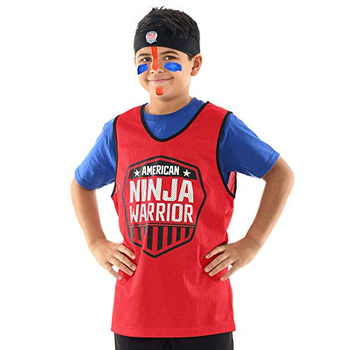 American Ninja Warrior Costume Set-Headband, Red Jersey, Face Paint