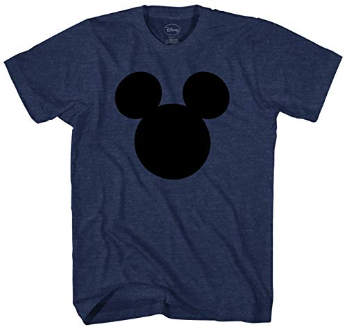 Disney Mickey Mouse Head Silhouette Men's Adult Graphic Tee T-Shirt (X-Large, Navy Heather)