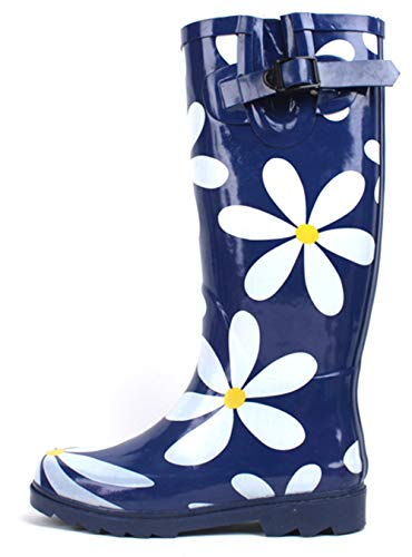 SBC Women's Rain Boots Adjustable Buckle Fashion Mid Calf Wellies Rubber Knee High Snow Multiple Styles (8 B(M) US, Navy/White Flower)
