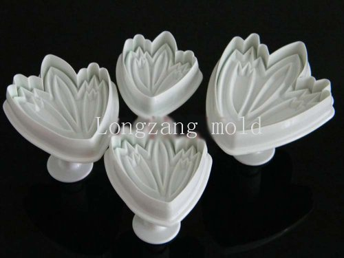 - Set of 4pcs Tulip plunger Cutter cake decorating fondant embossing tool