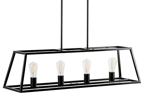 Lorenzi 4 Light Kitchen Island Pendant - Bronze w/LED Bulbs - Linea di Liara - Contemporary Lighting Kitchen