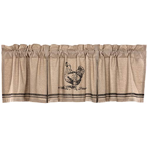 VHC Brands Farmhouse Kitchen Curtains Sawyer Mill Chicken Rod Pocket Cotton Hanging Loops Stenciled Chambray Nature Print 20x72 Valance Charcoal Khaki Tan ()