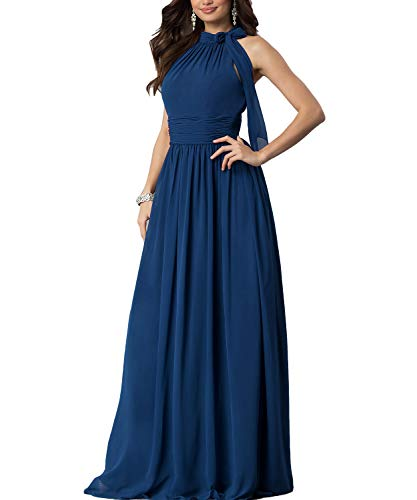 Aox Women's Formal Chiffon Sleeveless A Line Halter Long Maxi Party Evening Dress Skirt (2XL, Blue)