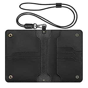 Genuine Leather Passport Holder, Fintie Travel Wallet with Lanyard Card Case Cover, Black