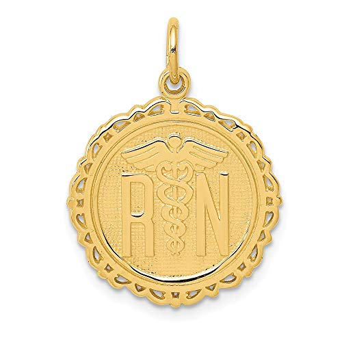 14K Yellow Gold Registered Nurse Disc Charm Pendant from Roy Rose Jewelry ()