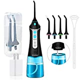 Cordless Water Flosser Oral Irrigator, Nicefeel 300ML 2 Tip Case Portable and Rechargeable Water Flossing for Travel, IPX7 Waterproof 3 Mode Teeth Cleaner with Tongue Cleaner, 4 Jet Tips for Home