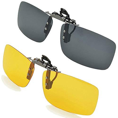 Aioink Clip-on Sunglasses Polarized, 2 Piece Unisex Polarized Frameless Rectangle Lens Flip Up Clip on Prescription Sunglasses/Eyeglasses for Driving, Travelling or More