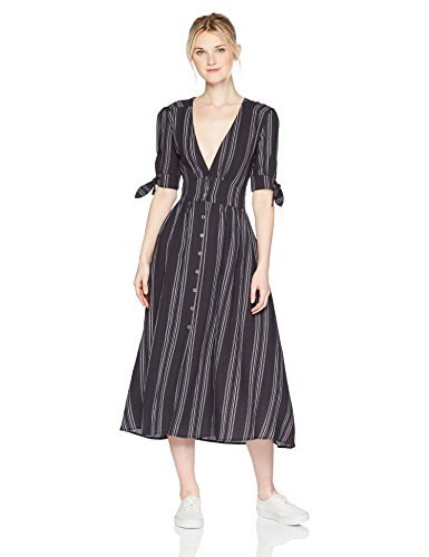 Lira Clothing Women's Maverick Striped Vneck Dress, Black, - Women Maverick