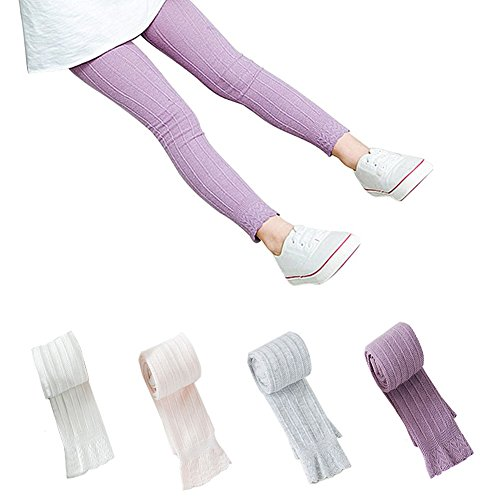 (Lasoue 4 Pack Baby Girls Flared Lace Trim Legging Outfit Pant Footless Knit Tight Warm Stocking for 1-7T)