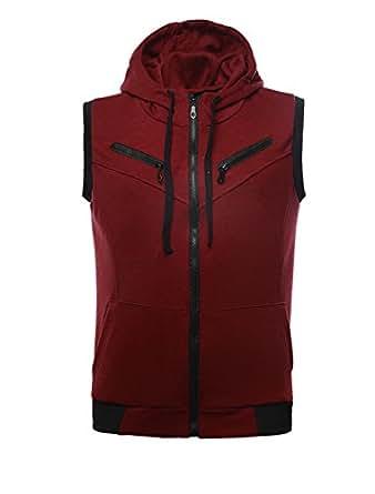 Allegra K Men Zip Up Hoodies Kangaroo Pocket Hoodie Casual Hooded Vest, 42/Large - Wine