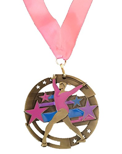 Gymnastics 2 3/4 Inch Die Cast Award Medal with Enamel Color, Includes Pink Neck Ribbon.