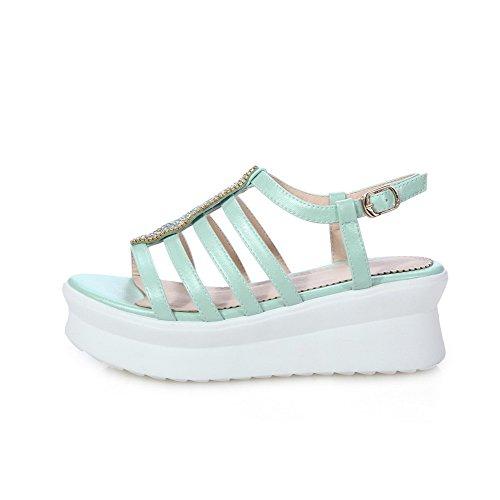 AmoonyFashion Womens PU Solid Buckle Open Toe Kitten Heels Sandals Blue TWU8ATho