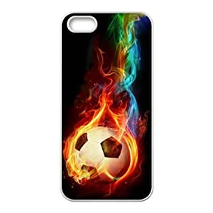 Custom Colorful Case for Iphone 5,5S, Fire Soccer Ball Cover Case - HL-R661250