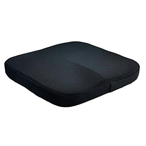 Sotoboo Cojin de espuma viscoelastica para silla de oficina, tamano grande, con una hebilla para evitar deslizamientos, cojin para asiento de coche con funda de terciopelo negro lavable a maquina