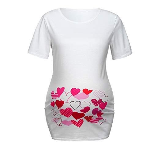 ca1c9e771b Maternity Tee, Women Maternity Heart Print T-Shirt Cute Funny Pregnancy  Shirt Top White
