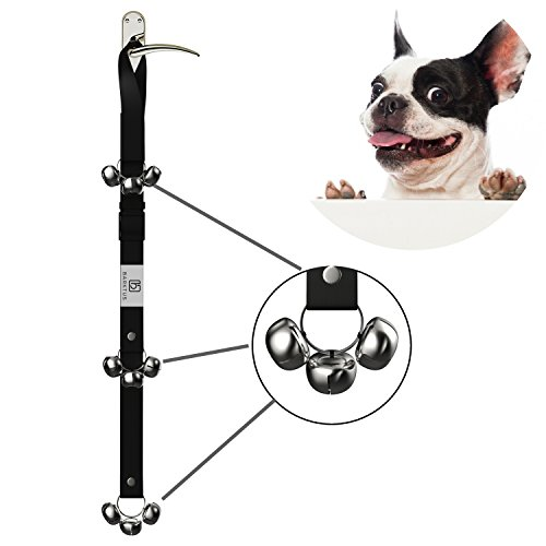 Potty Training Dog Bells Doorbells Housebreaking 9 Loud And Big Tinkle Jingle Bell For Housetraining Your Puppy. Adjustable Door Bell Strap And Step By Step Instructional Guide Included by Barktus (Door Bell Jingle)