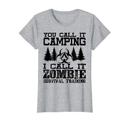 Womens Zombie Survival Training Camping T-Shirt - Halloween Shirt Medium Heather Grey